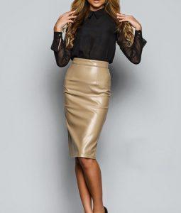 Кожаная юбка карандаш: кому идет и с чем носить