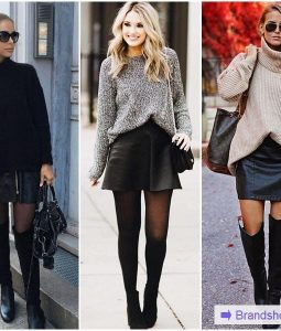С чем носить черную кожаную юбку — 62 модных образа