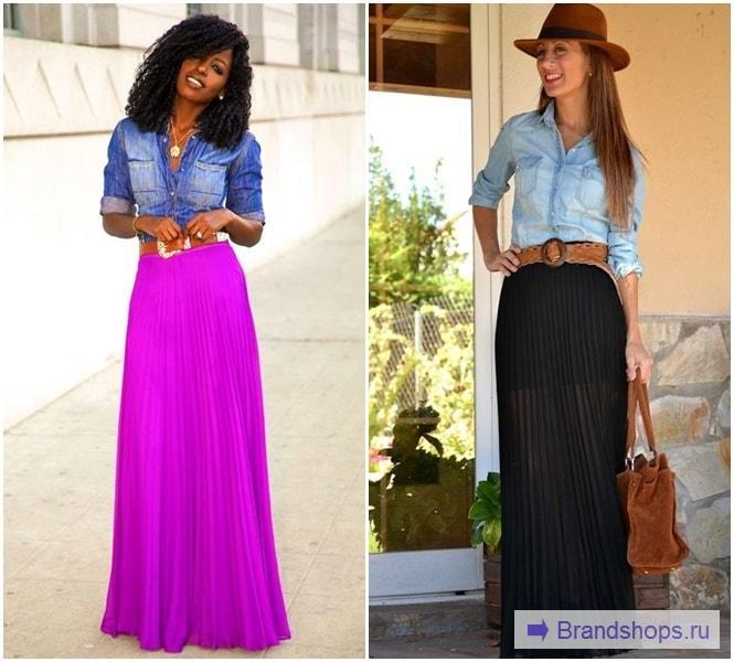 Лук с юбкой и джинсовой рубашкой