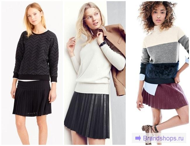 Короткая юбка-плиссе с теплым свитером