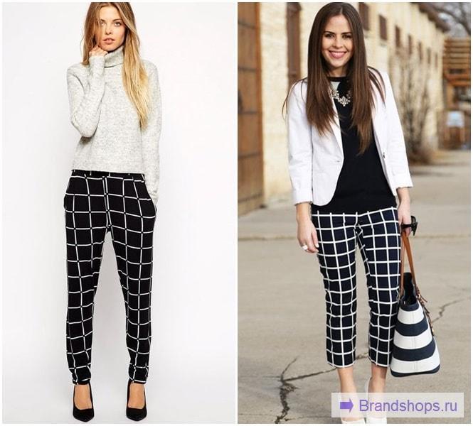 Черные брюки в белую клетку