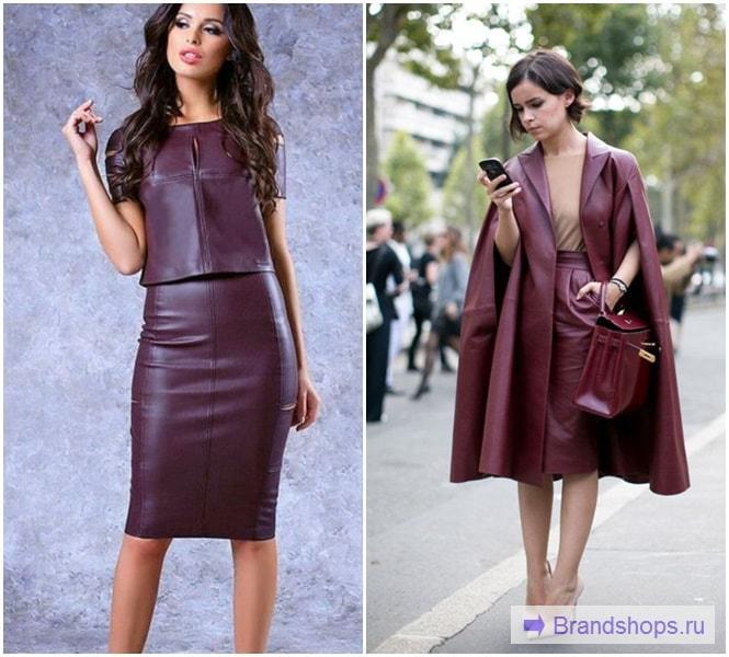 Бордовая юбка с бордовым верхом