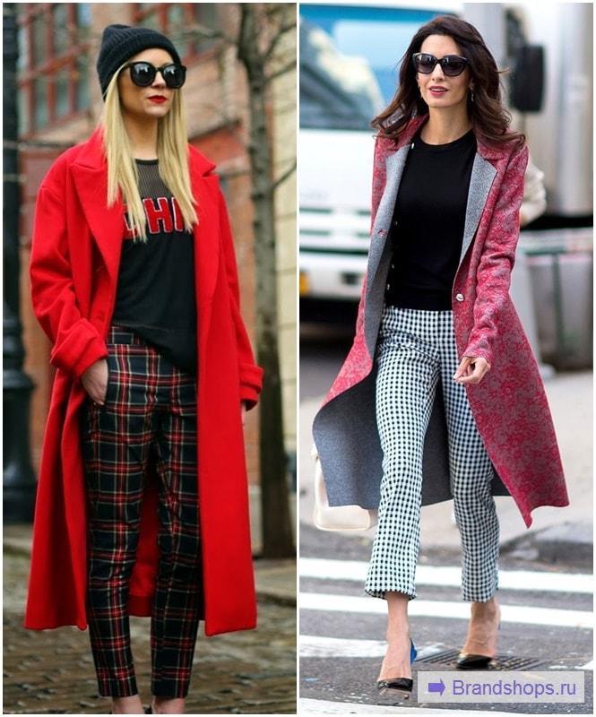Клетчатые брюки с красным пальто