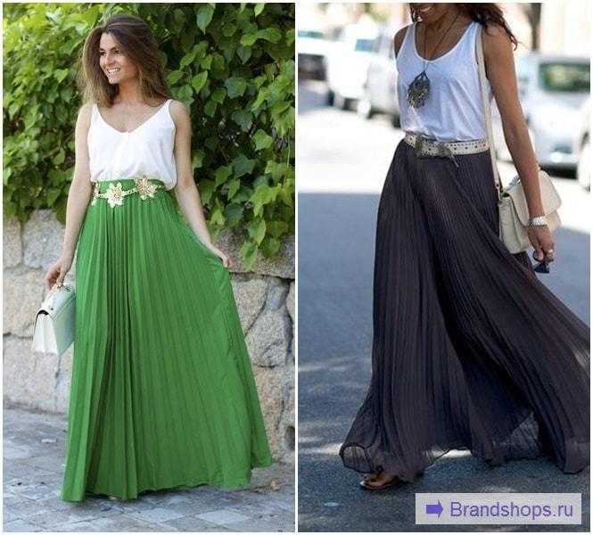 Девушки в длинных юбках-плиссе