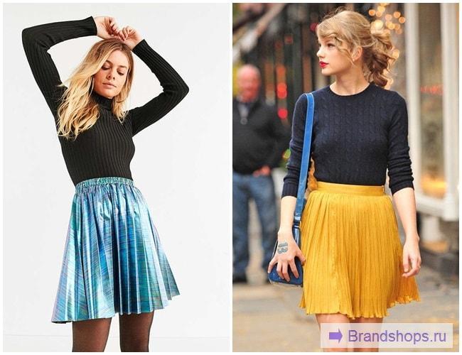 Яркие юбки с черной водолазкой