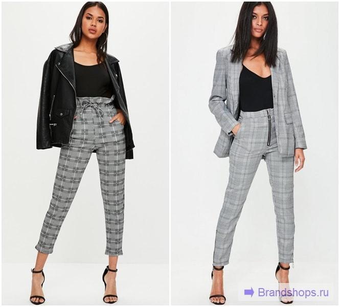 Серые клетчатые брюки в деловом стиле