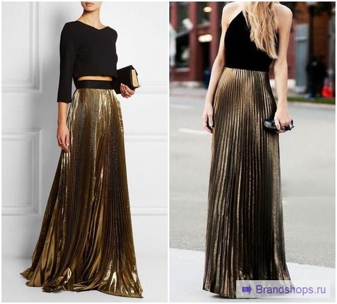 Золотистая юбка-макси и черный верх