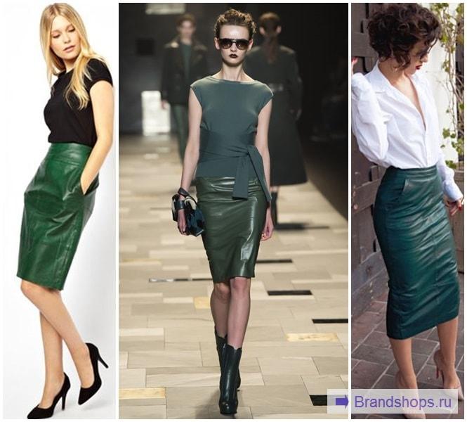 Кожаная зеленая юбка