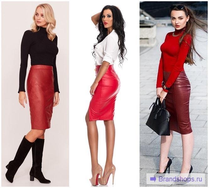 Красная юбка с черным, белым и красным