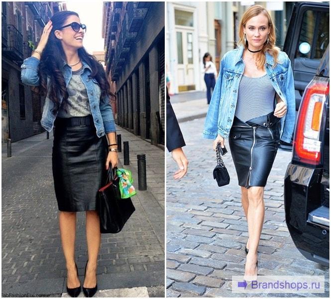 Кожаная юбка с джинсовой курткой