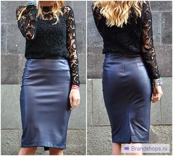 Синяя юбка-карандаш и черный верх