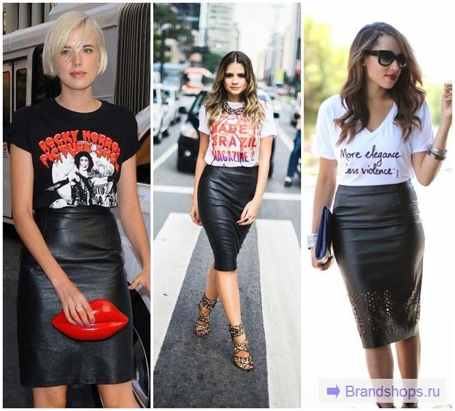 Девушки в футболках и кожаных юбках