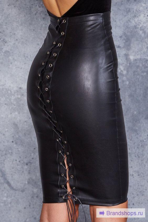 Обтягивающая кожаная юбка