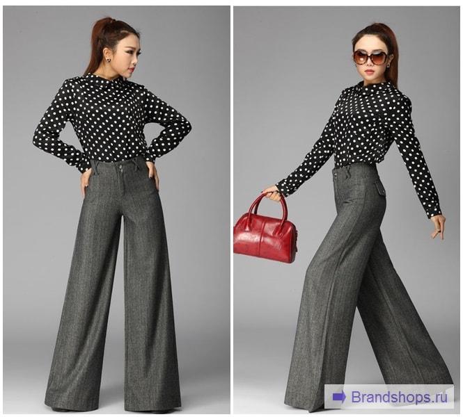 Серые брюки с блузкой в горошек