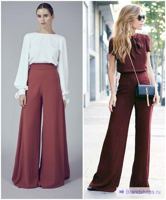 Широкие брюки-клеш бордового цвета с шифоновой блузой