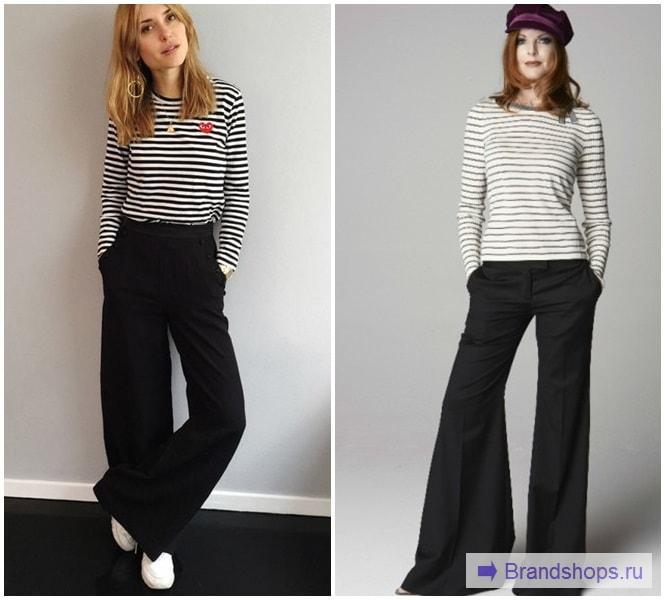 Черные брюки с полосатым топом