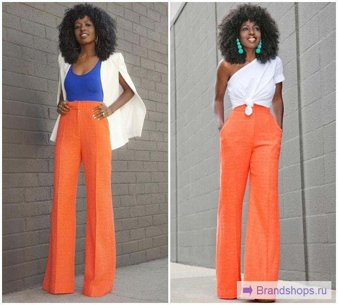 Оранжевые брюки-клеш от бедра
