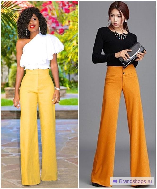 Желтые брюки-клеш