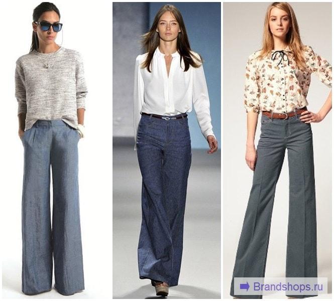 Серые расклешенные брюки