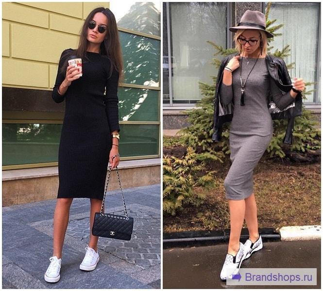 f72edef2afb Серое платье-лапша с черное или белой блузкой. Практичный образ без  нарушения корпоративных требований к одежде – отличный вариант для офиса.
